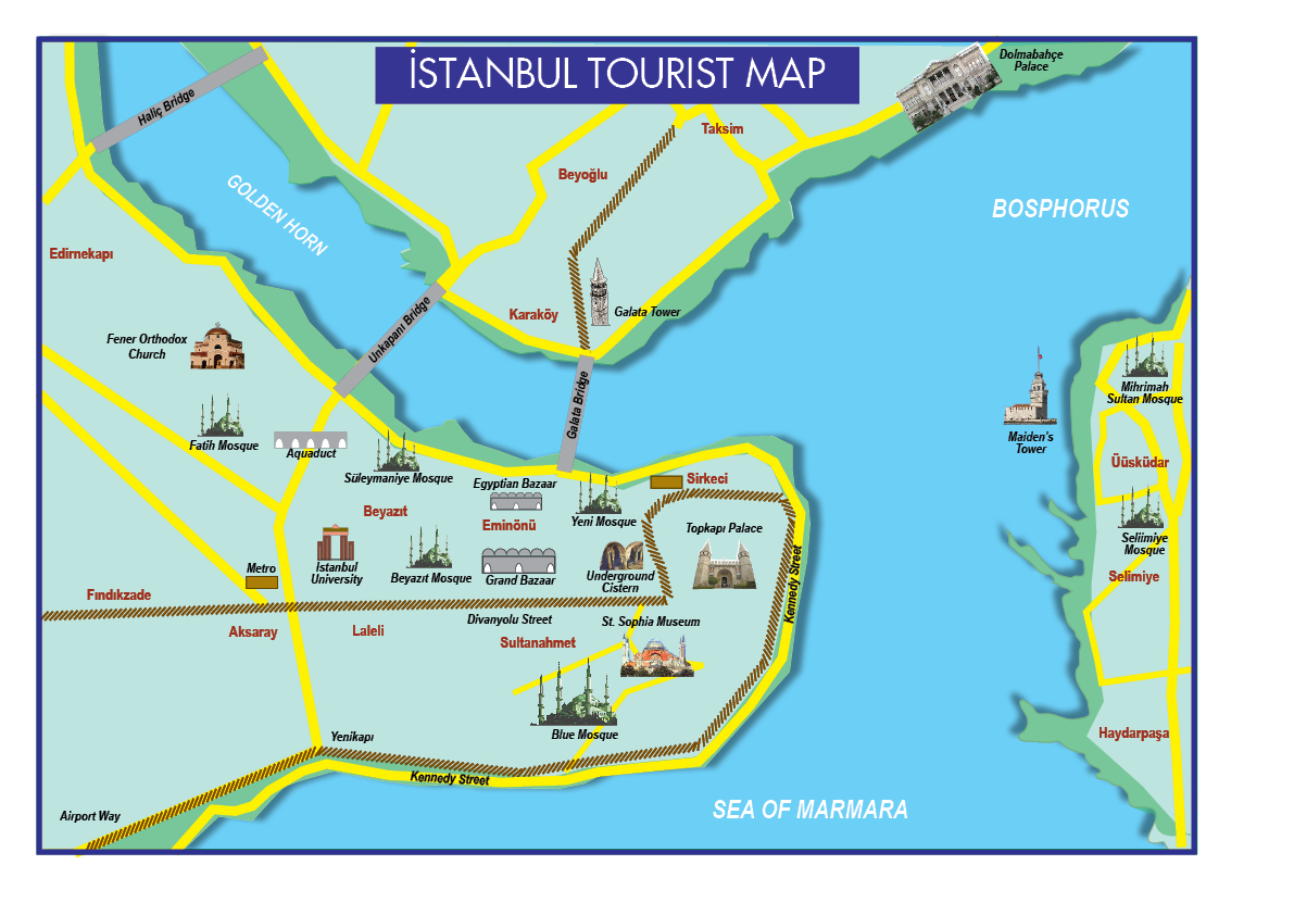maps update tourist map of istanbul attractions